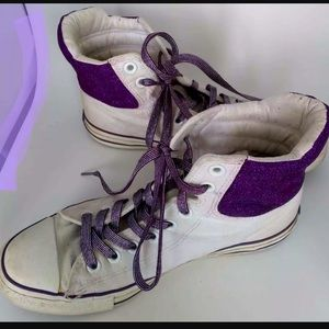 Converse All Star Womens 9 High Top Shoes Glitter